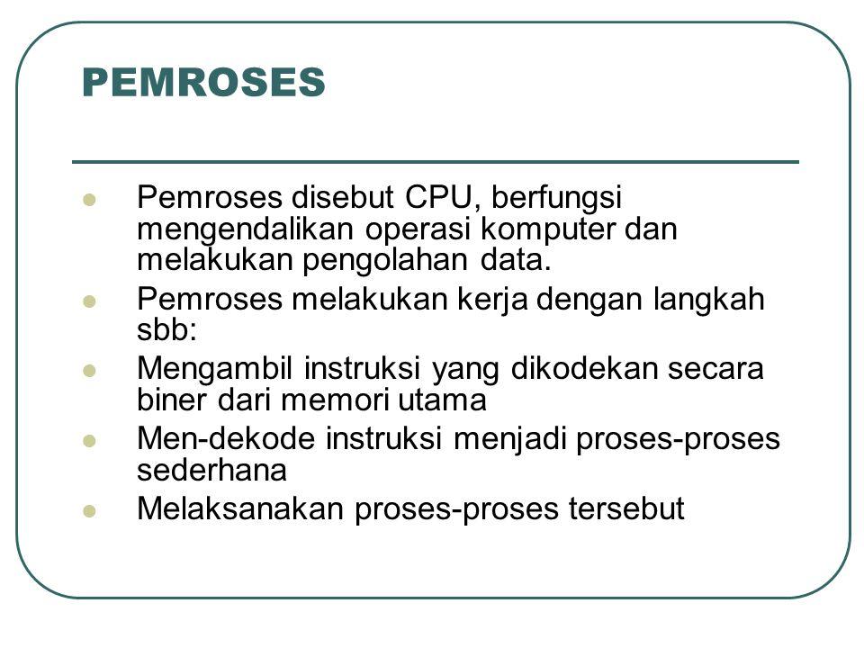PEMROSES Pemroses disebut CPU, berfungsi mengendalikan operasi komputer dan melakukan pengolahan data. Pemroses melakukan kerja dengan langkah sbb: Me