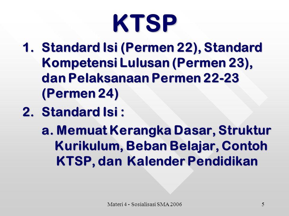 5Materi 4 - Sosialisasi SMA 2006KTSP 1.Standard Isi (Permen 22), Standard Kompetensi Lulusan (Permen 23), dan Pelaksanaan Permen 22-23 (Permen 24) 2.Standard Isi : a.