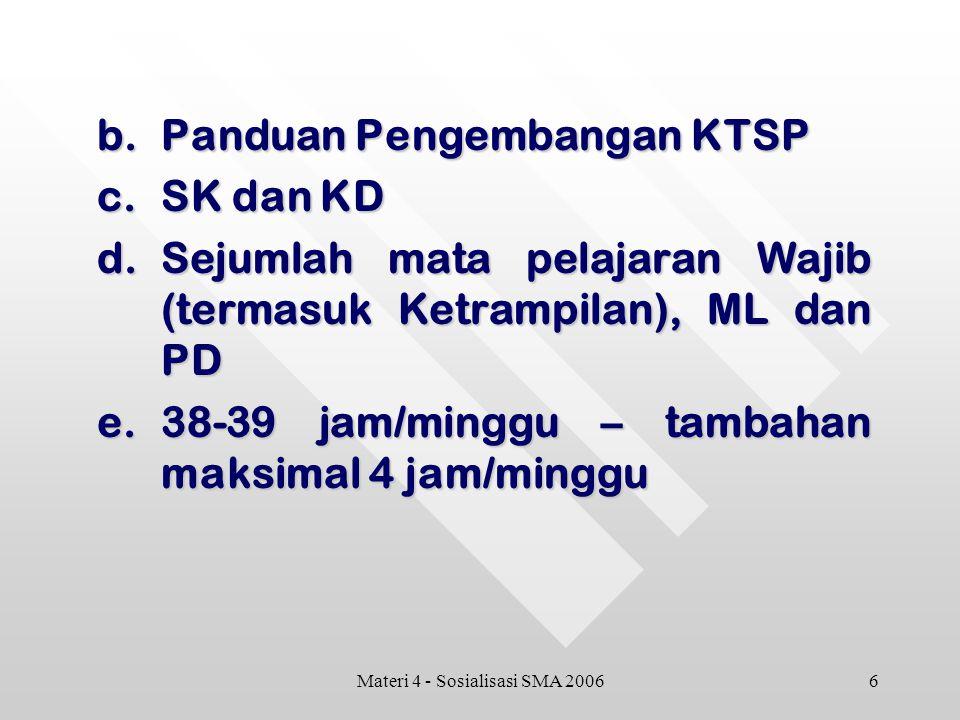 6Materi 4 - Sosialisasi SMA 2006 b.Panduan Pengembangan KTSP c.SK dan KD d.Sejumlah mata pelajaran Wajib (termasuk Ketrampilan), ML dan PD e.38-39 jam/minggu – tambahan maksimal 4 jam/minggu