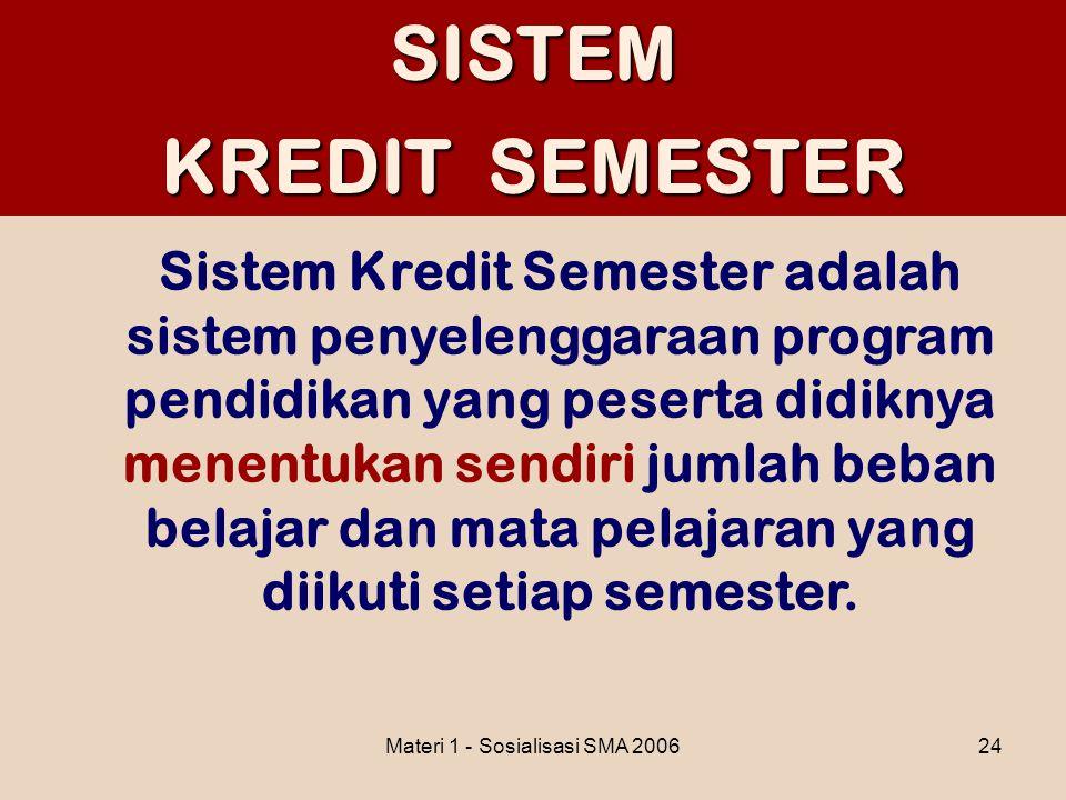 Materi 1 - Sosialisasi SMA 200624SISTEM KREDIT SEMESTER Sistem Kredit Semester adalah sistem penyelenggaraan program pendidikan yang peserta didiknya