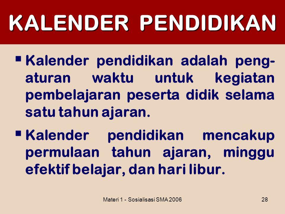 Materi 1 - Sosialisasi SMA 200628 KALENDER PENDIDIKAN  Kalender pendidikan adalah peng- aturan waktu untuk kegiatan pembelajaran peserta didik selama