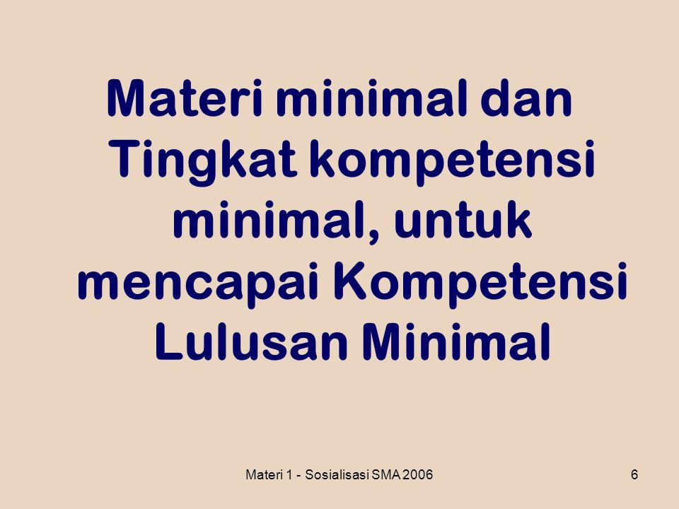 Materi 1 - Sosialisasi SMA 20066 Materi minimal dan Tingkat kompetensi minimal, untuk mencapai Kompetensi Lulusan Minimal