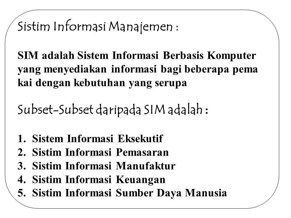 Sistim Informasi Manajemen : SIM adalah Sistem Informasi Berbasis Komputer yang menyediakan informasi bagi beberapa pema kai dengan kebutuhan yang serupa Subset-Subset daripada SIM adalah : 1.Sistem Informasi Eksekutif 2.Sistim Informasi Pemasaran 3.Sistim Informasi Manufaktur 4.Sistim Informasi Keuangan 5.Sistim Informasi Sumber Daya Manusia