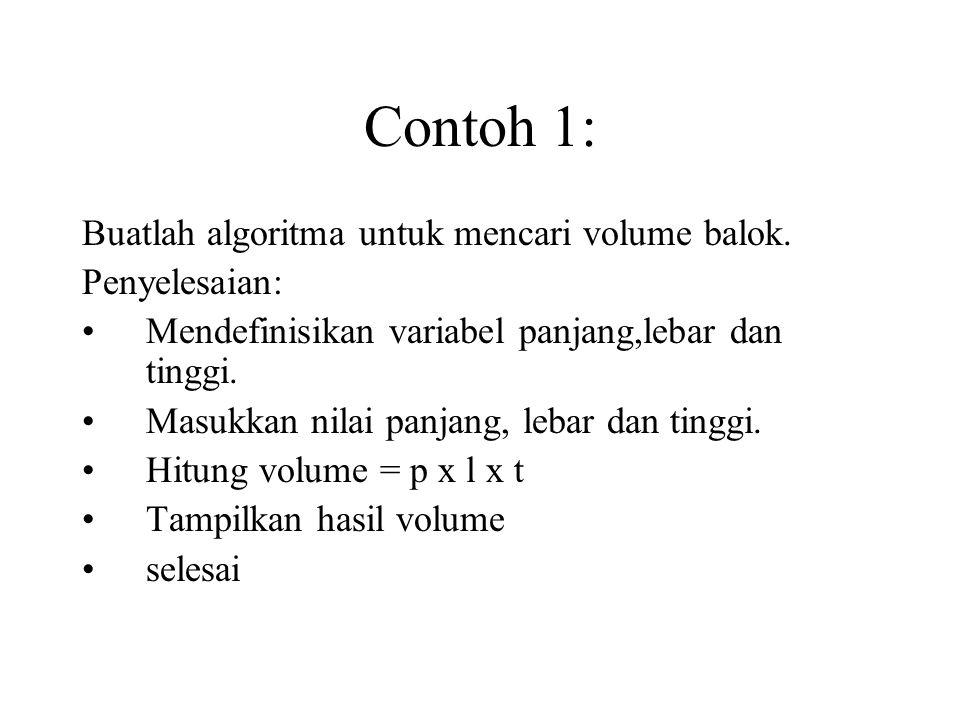 Contoh 1: Buatlah algoritma untuk mencari volume balok.