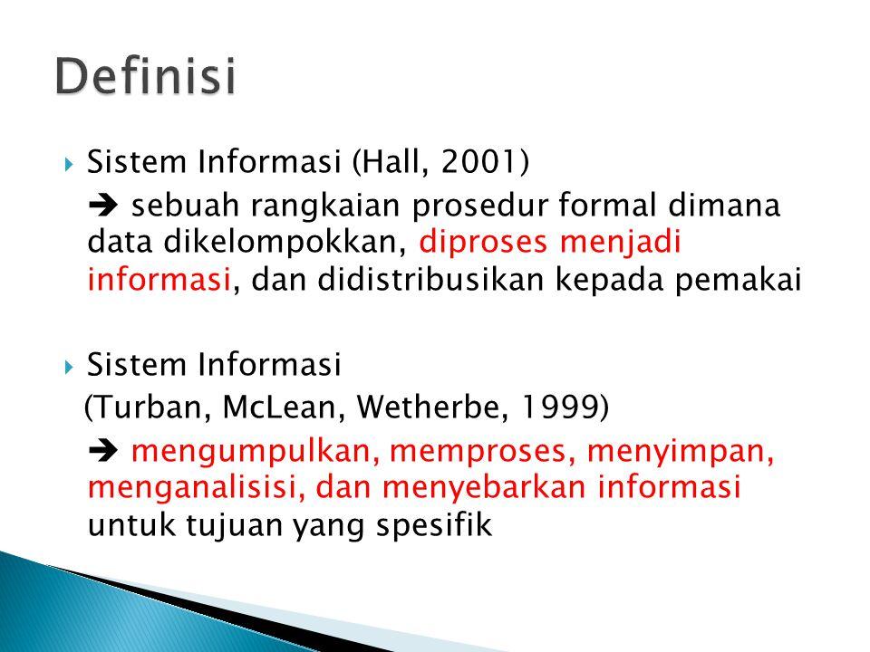  Sistem Informasi (Hall, 2001)  sebuah rangkaian prosedur formal dimana data dikelompokkan, diproses menjadi informasi, dan didistribusikan kepada p
