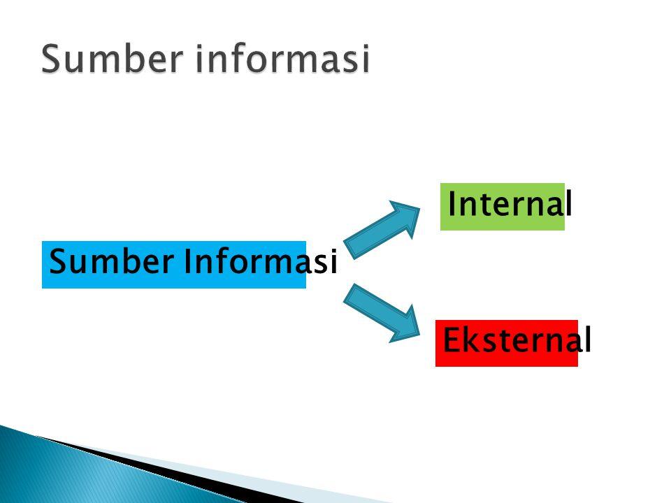  Sumber Informasi Internal  Sumber Informasi berasal dari dalam perusahaan  3 sumber utama 1.Dokumen Internal  Neraca Internal, arsip pegawai, laporan, dll 2.Observasi  Metode pengumpulan informasi dengan cara meneliti nya 3.Survei Internal  Kuesioner, wawancara, dll
