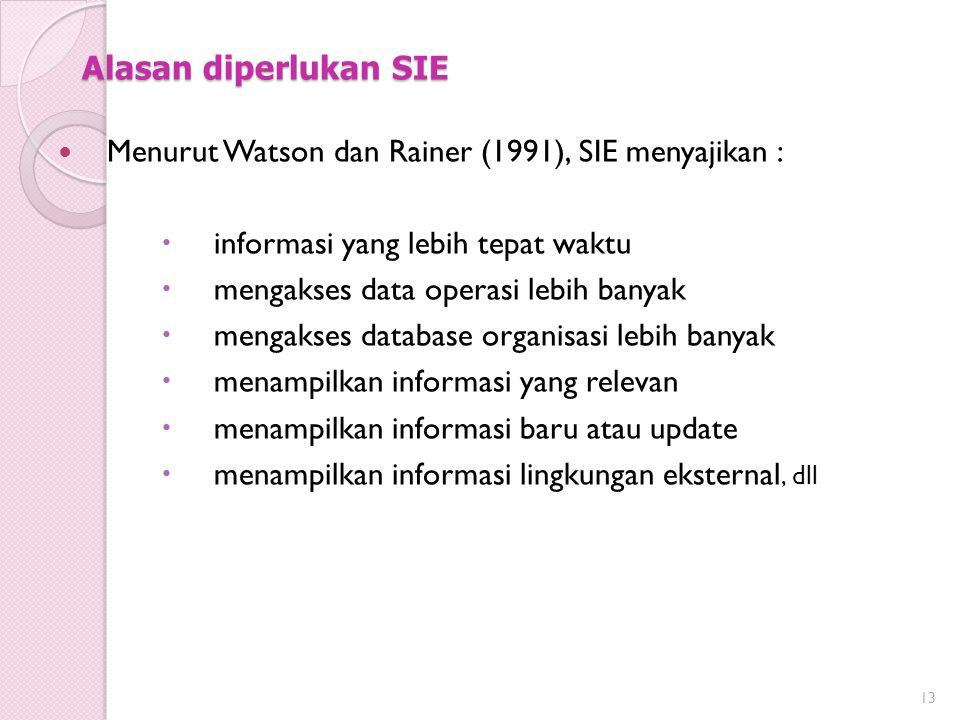 Alasan diperlukan SIE Menurut Watson dan Rainer (1991), SIE menyajikan :  informasi yang lebih tepat waktu  mengakses data operasi lebih banyak  mengakses database organisasi lebih banyak  menampilkan informasi yang relevan  menampilkan informasi baru atau update  menampilkan informasi lingkungan eksternal, dll 13