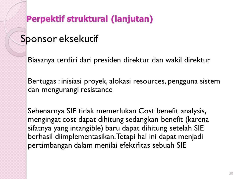 Perpektif struktural (lanjutan) Sponsor eksekutif Biasanya terdiri dari presiden direktur dan wakil direktur Bertugas : inisiasi proyek, alokasi resou