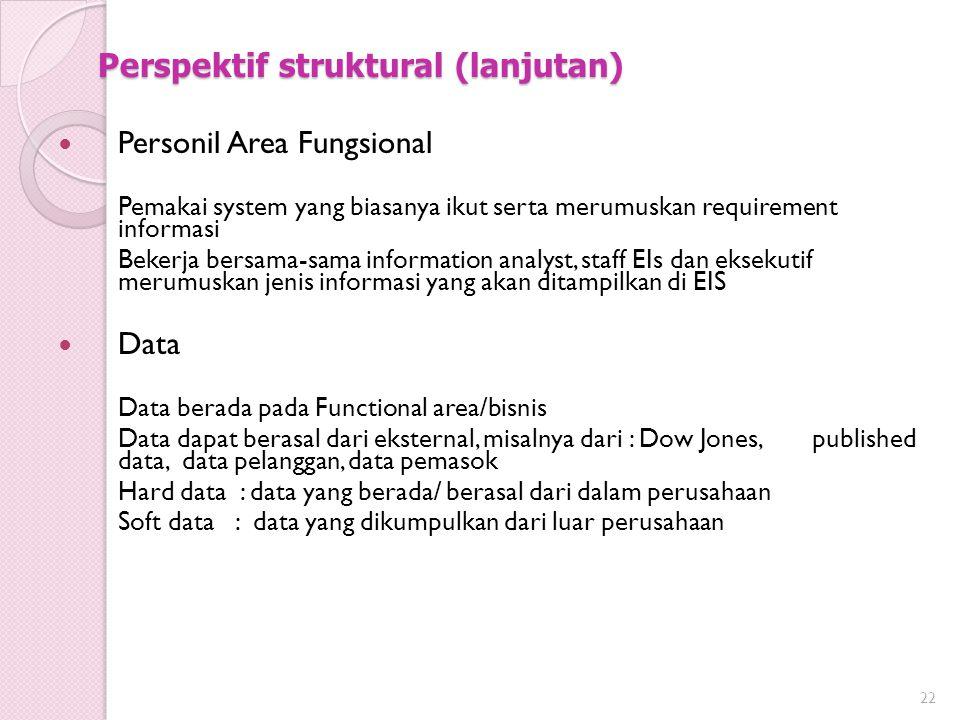 Perspektif struktural (lanjutan) Personil Area Fungsional Pemakai system yang biasanya ikut serta merumuskan requirement informasi Bekerja bersama-sam