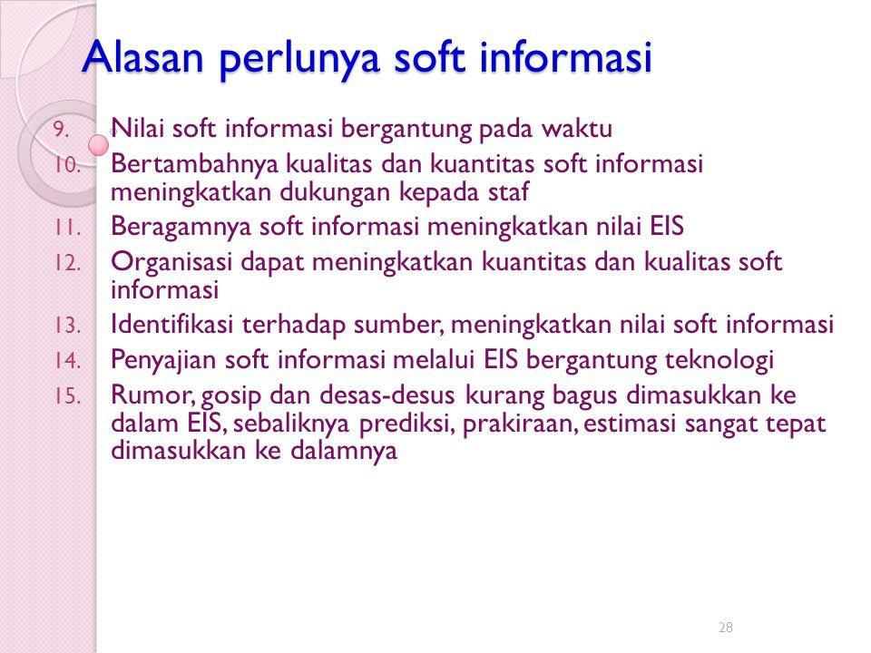 Alasan perlunya soft informasi 9. Nilai soft informasi bergantung pada waktu 10. Bertambahnya kualitas dan kuantitas soft informasi meningkatkan dukun