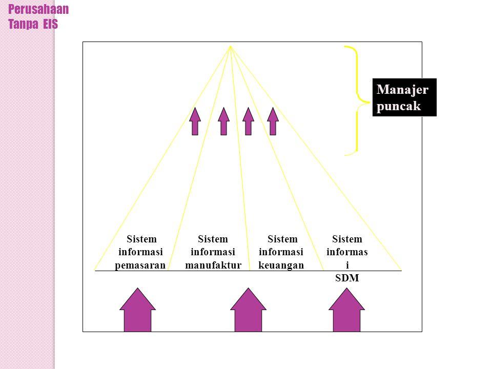 Sistem informasi pemasaran Sistem informasi manufaktur Sistem informasi keuangan Sistem informas i SDM Informasi dan data lingkungan Manajer puncak Perusahaan Tanpa EIS