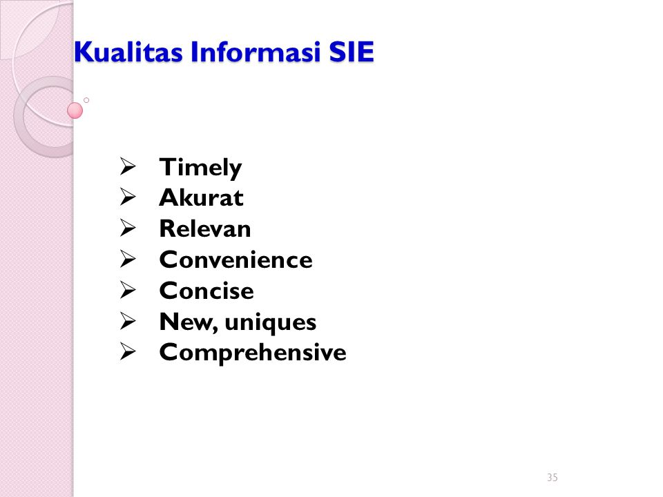 Kualitas Informasi SIE 35  Timely  Akurat  Relevan  Convenience  Concise  New, uniques  Comprehensive