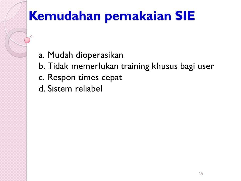 Kemudahan pemakaian SIE 38 a.Mudah dioperasikan b.Tidak memerlukan training khusus bagi user c.Respon times cepat d.Sistem reliabel