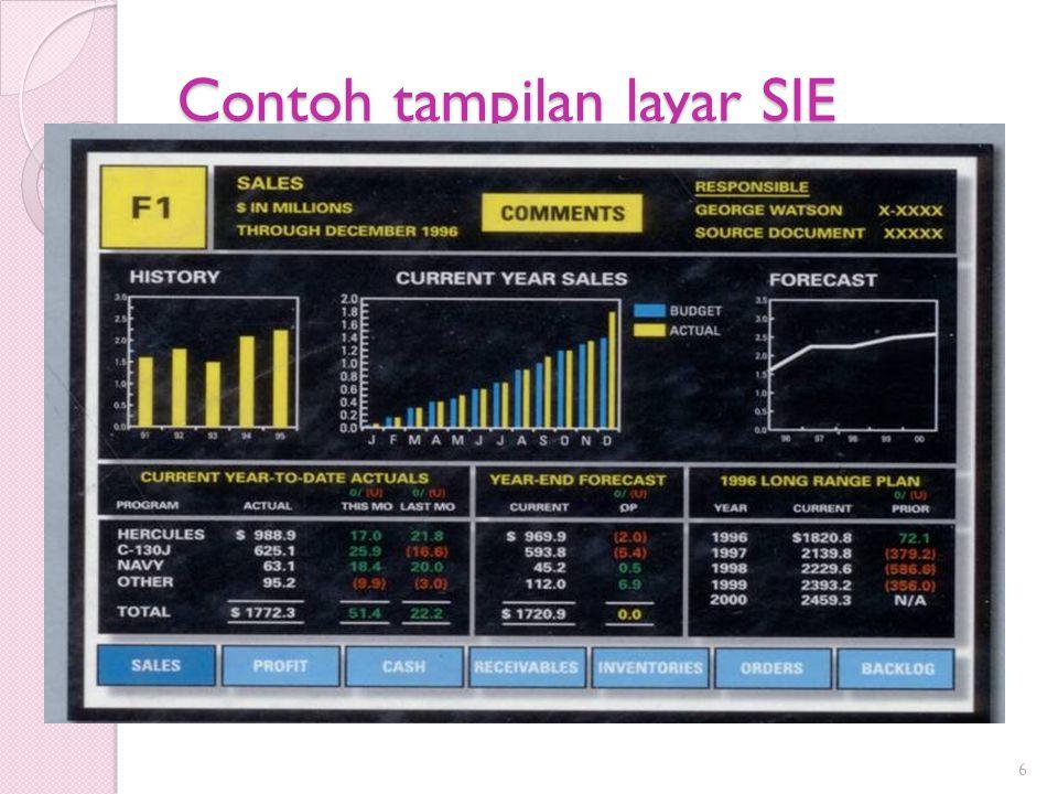 Tiga Perspektif SIE : ◦ EIS Staf, yaitu staf pengembang dan pemelihara SIE ◦ User, yaitu eksekutif sebagai pemakai SIE untuk mendukung tugas-tugas mereka ◦ Vendor dan Konsultan, menyediakan perangkat dan jasa untuk pengembangan SIE 17