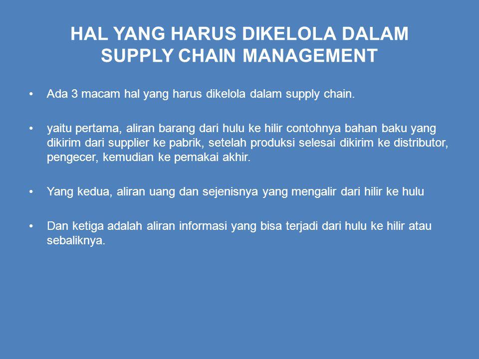 HAL YANG HARUS DIKELOLA DALAM SUPPLY CHAIN MANAGEMENT Ada 3 macam hal yang harus dikelola dalam supply chain.