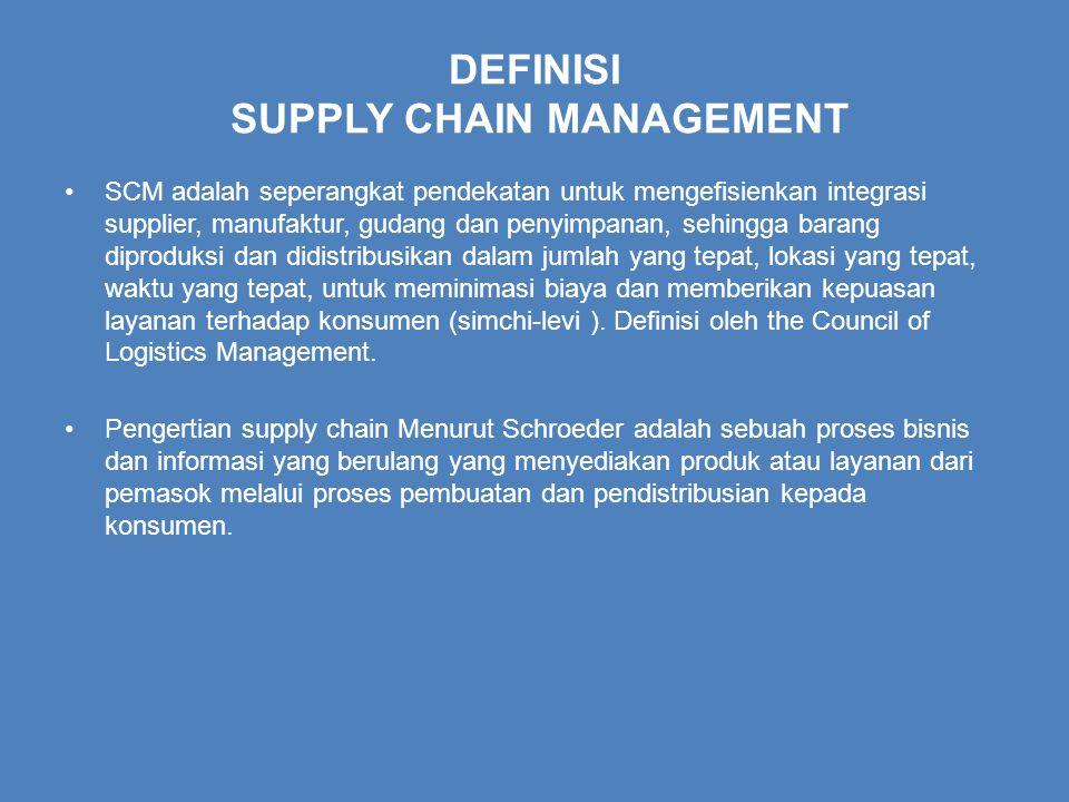 DEFINISI SUPPLY CHAIN MANAGEMENT SCM adalah seperangkat pendekatan untuk mengefisienkan integrasi supplier, manufaktur, gudang dan penyimpanan, sehingga barang diproduksi dan didistribusikan dalam jumlah yang tepat, lokasi yang tepat, waktu yang tepat, untuk meminimasi biaya dan memberikan kepuasan layanan terhadap konsumen (simchi-levi ).