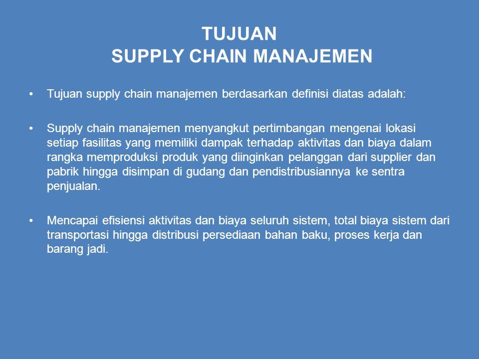 TUJUAN SUPPLY CHAIN MANAJEMEN Tujuan supply chain manajemen berdasarkan definisi diatas adalah: Supply chain manajemen menyangkut pertimbangan mengenai lokasi setiap fasilitas yang memiliki dampak terhadap aktivitas dan biaya dalam rangka memproduksi produk yang diinginkan pelanggan dari supplier dan pabrik hingga disimpan di gudang dan pendistribusiannya ke sentra penjualan.