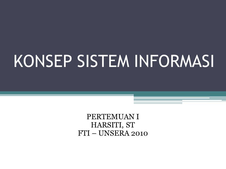 KONSEP SISTEM INFORMASI PERTEMUAN I HARSITI, ST FTI – UNSERA 2010
