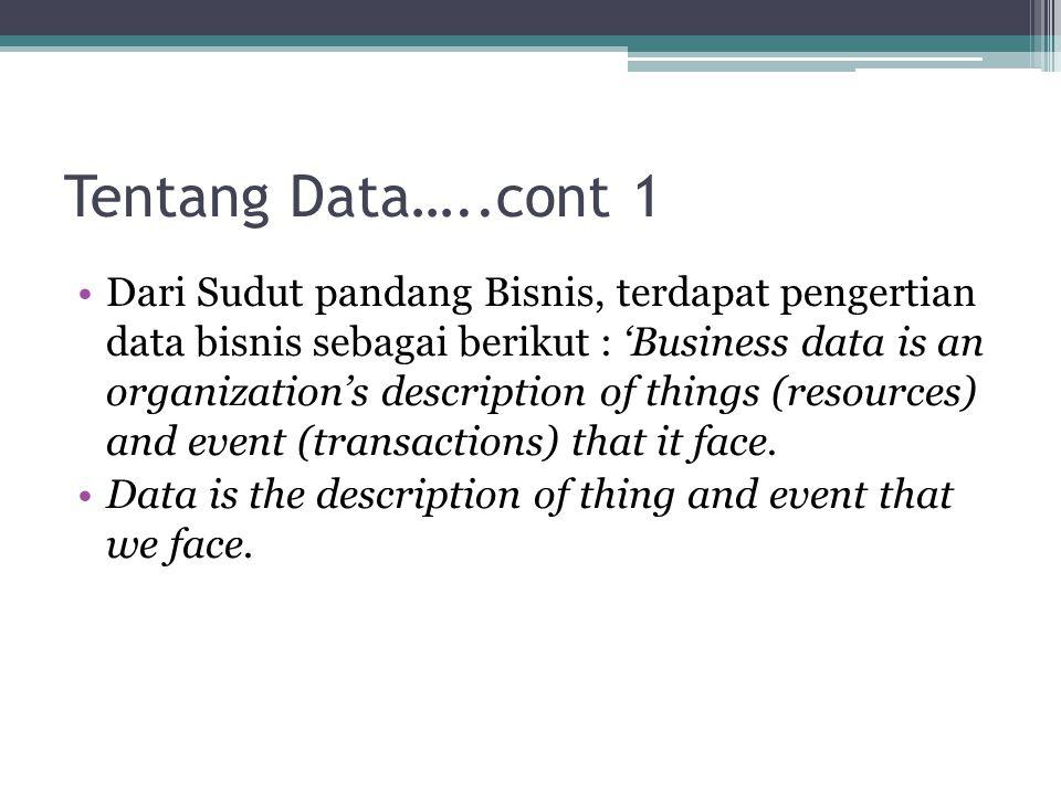 Tentang Data…..cont 2 Gordon B.