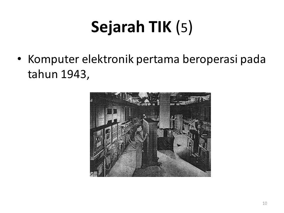 Tahun 1947 miniaturisasi komponen elektronik melalui transistor Tahun 1957 tercipta rangkaian terpadu (integrated circuit) atau IC 11 Sejarah TIK ( 5 )