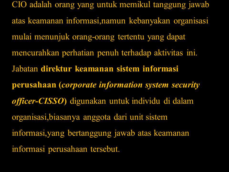 CIO adalah orang yang untuk memikul tanggung jawab atas keamanan informasi,namun kebanyakan organisasi mulai menunjuk orang-orang tertentu yang dapat