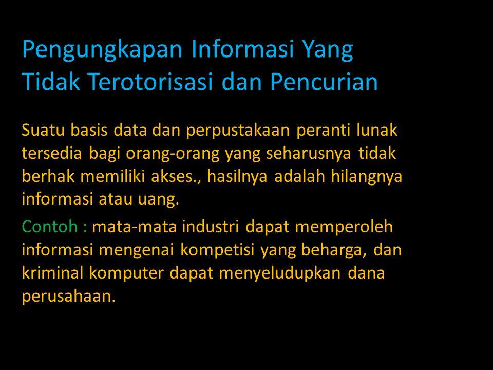 Pengungkapan Informasi Yang Tidak Terotorisasi dan Pencurian Suatu basis data dan perpustakaan peranti lunak tersedia bagi orang-orang yang seharusnya