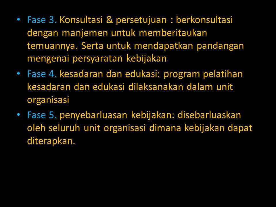 Fase 3. Konsultasi & persetujuan : berkonsultasi dengan manjemen untuk memberitaukan temuannya. Serta untuk mendapatkan pandangan mengenai persyaratan