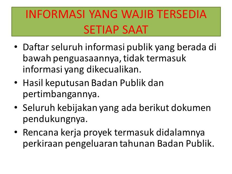 INFORMASI YANG WAJIB TERSEDIA SETIAP SAAT Daftar seluruh informasi publik yang berada di bawah penguasaannya, tidak termasuk informasi yang dikecualikan.
