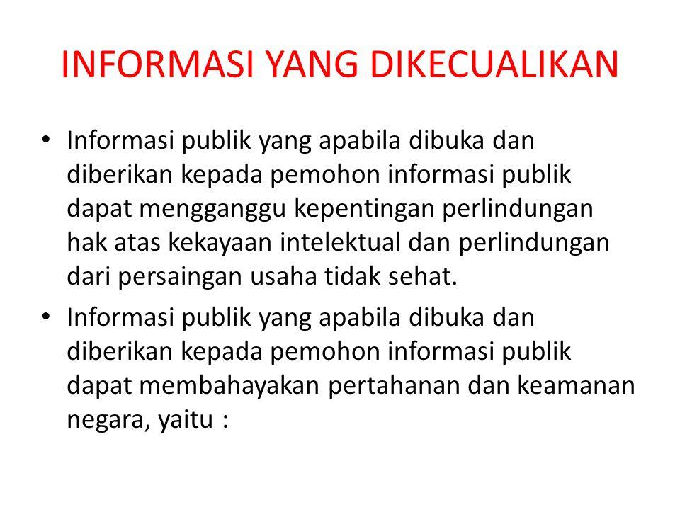 INFORMASI YANG DIKECUALIKAN Informasi publik yang apabila dibuka dan diberikan kepada pemohon informasi publik dapat mengganggu kepentingan perlindungan hak atas kekayaan intelektual dan perlindungan dari persaingan usaha tidak sehat.