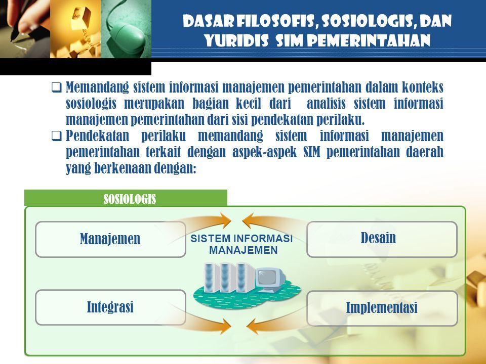 SISTEM INFORMASI MANAJEMEN SOSIOLOGIS DASAR FILOSOFIS, SOSIOLOGIS, DAN YURIDIS SIM PEMERINTAHAN Manajemen Integrasi Implementasi  Memandang sistem in