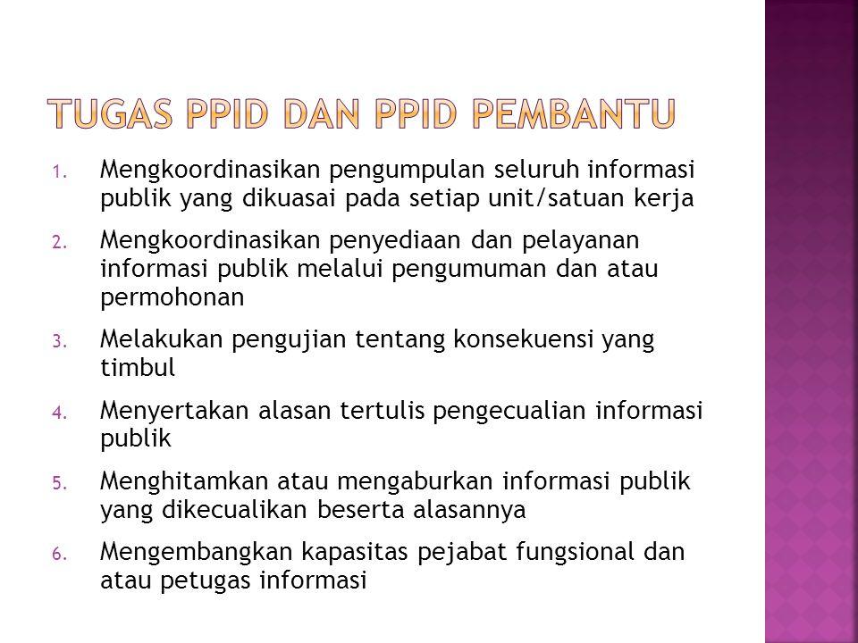 1. Mengkoordinasikan pengumpulan seluruh informasi publik yang dikuasai pada setiap unit/satuan kerja 2. Mengkoordinasikan penyediaan dan pelayanan in