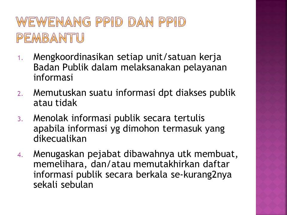 1. Mengkoordinasikan setiap unit/satuan kerja Badan Publik dalam melaksanakan pelayanan informasi 2. Memutuskan suatu informasi dpt diakses publik ata