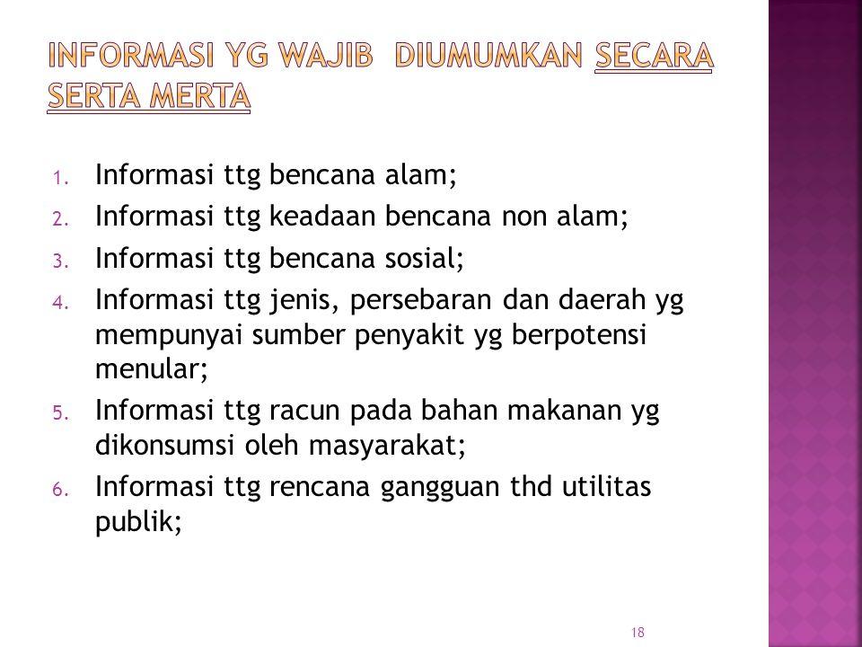 1. Informasi ttg bencana alam; 2. Informasi ttg keadaan bencana non alam; 3. Informasi ttg bencana sosial; 4. Informasi ttg jenis, persebaran dan daer