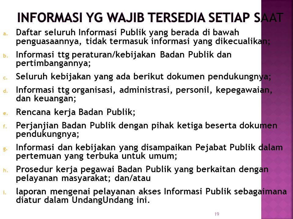 a. Daftar seluruh Informasi Publik yang berada di bawah penguasaannya, tidak termasuk informasi yang dikecualikan; b. Informasi ttg peraturan/kebijaka