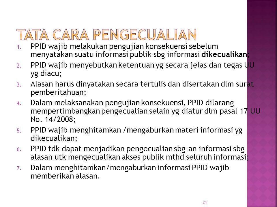 1. PPID wajib melakukan pengujian konsekuensi sebelum menyatakan suatu informasi publik sbg informasi dikecualikan; 2. PPID wajib menyebutkan ketentua