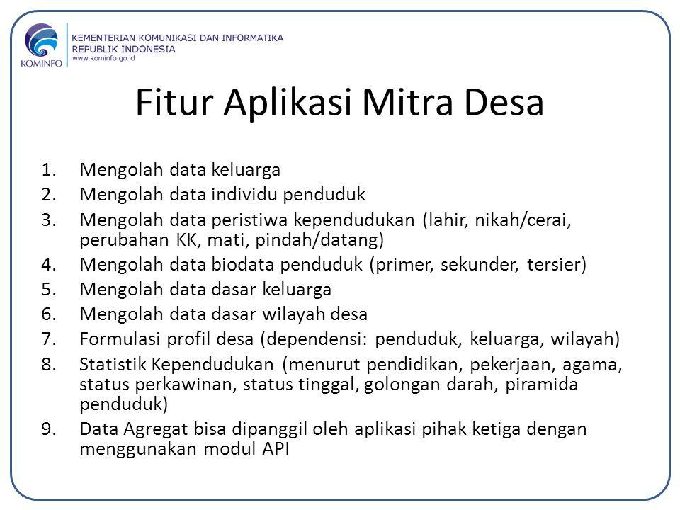 Fitur Aplikasi Mitra Desa 1.Mengolah data keluarga 2.Mengolah data individu penduduk 3.Mengolah data peristiwa kependudukan (lahir, nikah/cerai, perub