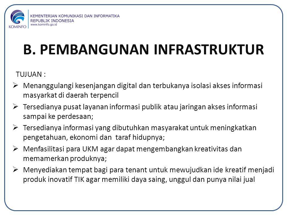 TUJUAN :  Menanggulangi kesenjangan digital dan terbukanya isolasi akses informasi masyarkat di daerah terpencil  Tersedianya pusat layanan informas