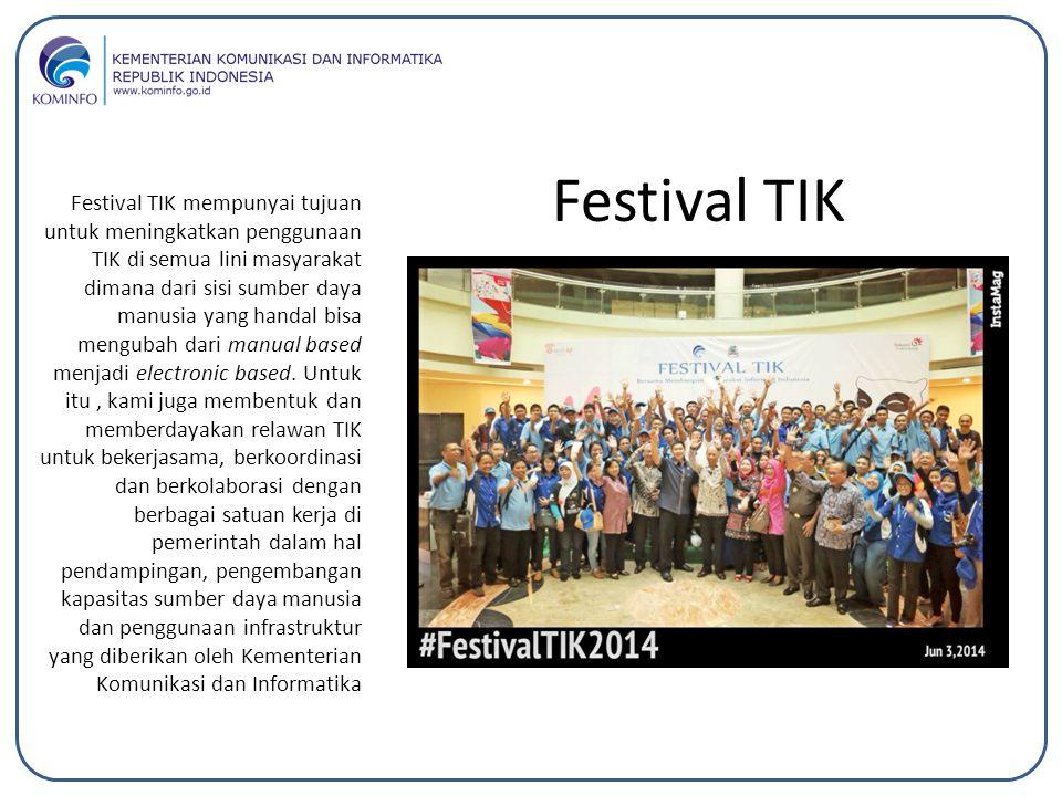 Festival TIK mempunyai tujuan untuk meningkatkan penggunaan TIK di semua lini masyarakat dimana dari sisi sumber daya manusia yang handal bisa menguba