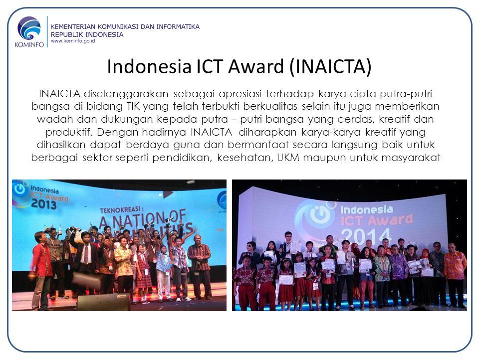 Indonesia ICT Award (INAICTA) INAICTA diselenggarakan sebagai apresiasi terhadap karya cipta putra-putri bangsa di bidang TIK yang telah terbukti berk