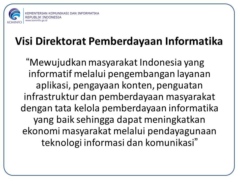 """Visi Direktorat Pemberdayaan Informatika """"Mewujudkan masyarakat Indonesia yang informatif melalui pengembangan layanan aplikasi, pengayaan konten, pen"""