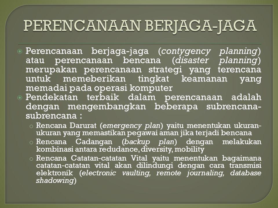  Perencanaan berjaga-jaga (contygency planning) atau perencanaan bencana (disaster planning) merupakan perencanaan strategi yang terencana untuk meme