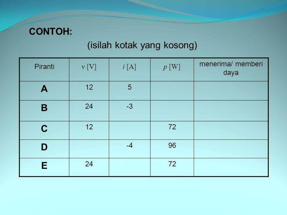 Piranti v [V]i [A]p [W] menerima/ memberi daya A 125 B 24-3 C 1272 D -496 E 2472 (isilah kotak yang kosong) CONTOH: