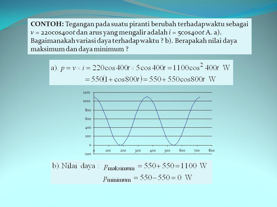 CONTOH: Tegangan pada suatu piranti berubah terhadap waktu sebagai v = 220cos400t dan arus yang mengalir adalah i = 5cos400t A.