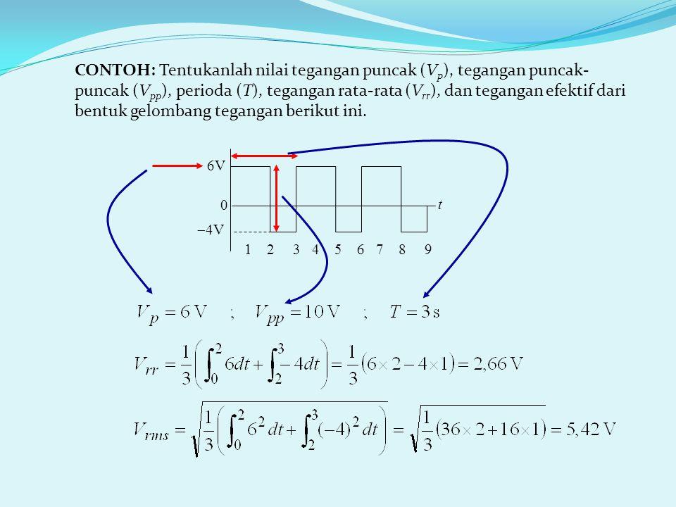 1 2 3 4 5 6 7 8 9 6V  4V 0 t CONTOH: Tentukanlah nilai tegangan puncak (V p ), tegangan puncak- puncak (V pp ), perioda (T), tegangan rata-rata (V rr ), dan tegangan efektif dari bentuk gelombang tegangan berikut ini.