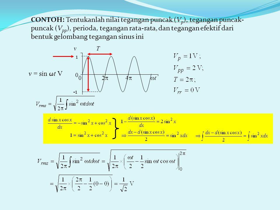 CONTOH: Tentukanlah nilai tegangan puncak (V p ), tegangan puncak- puncak (V pp ), perioda, tegangan rata-rata, dan tegangan efektif dari bentuk gelombang tegangan sinus ini T v = sin  t V -1 0 2  4   t v 0 1