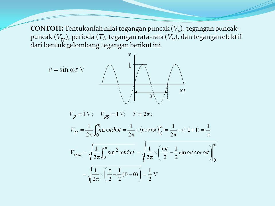 CONTOH: Tentukanlah nilai tegangan puncak (V p ), tegangan puncak- puncak (V pp ), perioda (T), tegangan rata-rata (V rr ), dan tegangan efektif dari bentuk gelombang tegangan berikut ini T tt v