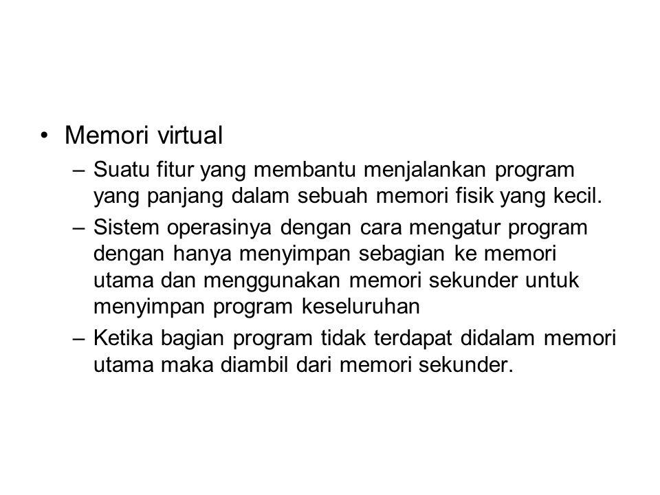 Memori virtual –Suatu fitur yang membantu menjalankan program yang panjang dalam sebuah memori fisik yang kecil. –Sistem operasinya dengan cara mengat