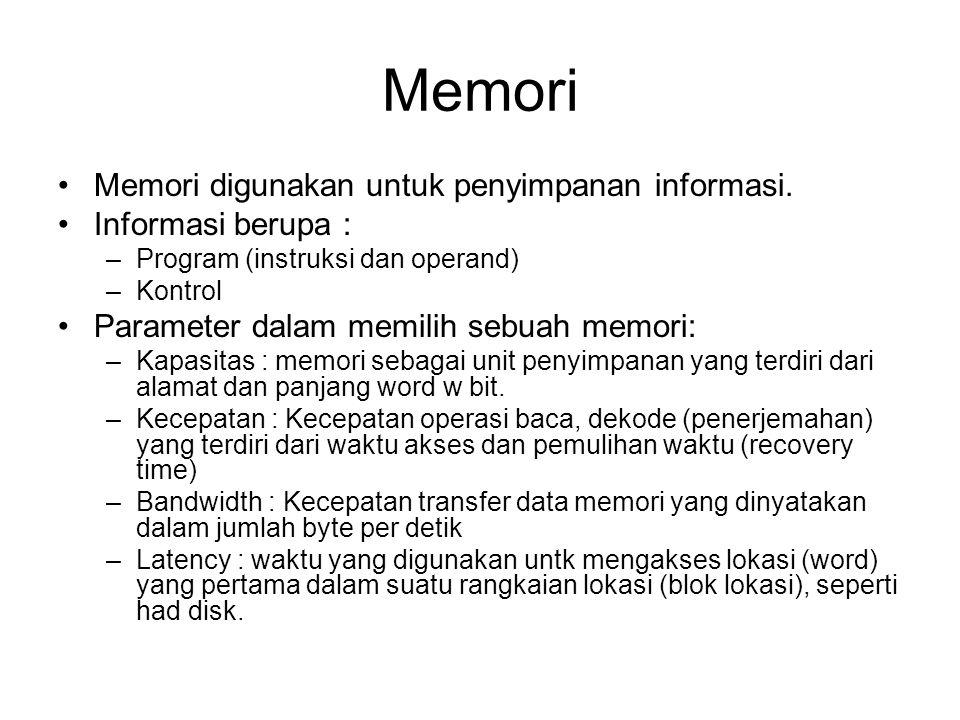 Memori Memori digunakan untuk penyimpanan informasi. Informasi berupa : –Program (instruksi dan operand) –Kontrol Parameter dalam memilih sebuah memor