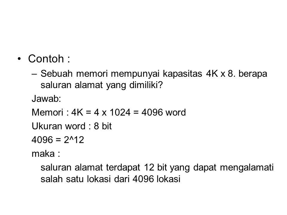 Contoh : –Sebuah memori mempunyai kapasitas 4K x 8. berapa saluran alamat yang dimiliki? Jawab: Memori : 4K = 4 x 1024 = 4096 word Ukuran word : 8 bit