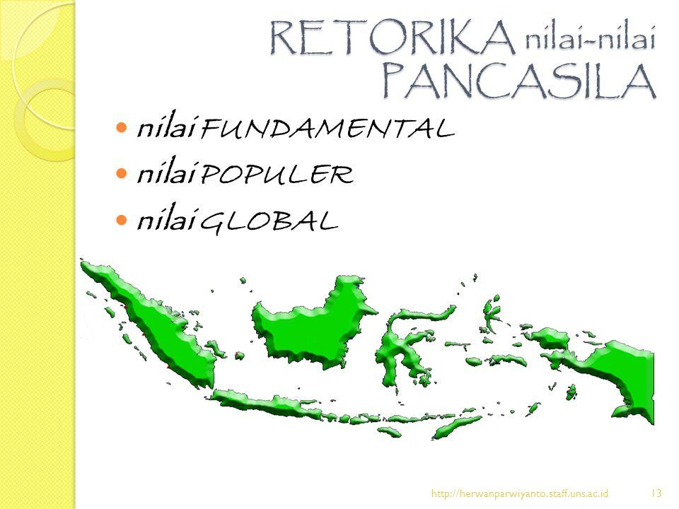 RETORIKA nilai-nilai PANCASILA nilai FUNDAMENTAL nilai POPULER nilai GLOBAL http://herwanparwiyanto.staff.uns.ac.id13